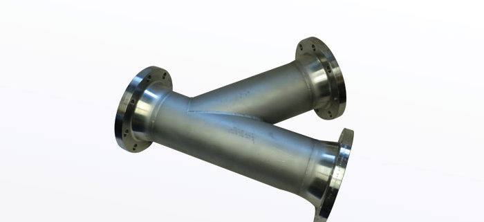 STAINLESS STEEL 45 LATERAL WITH 150 RAISED FACE WELD NECK FLANGES